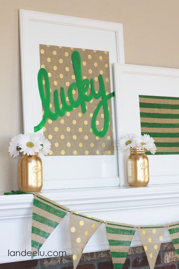 St patrick's day mantle - lucky burlap decor