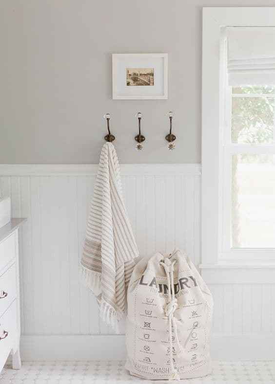 neutral laundry room grey walls