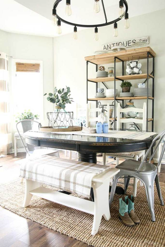 farmhouse dining room breakfast nook window covering ideas woven wood shades