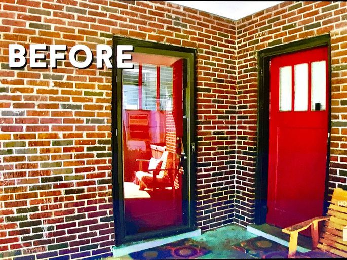 Property Brothers brick home before makeover with double front doors painted red