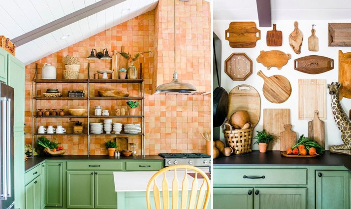 Split image of kitchen with green cabinets and Saltillo tile backsplash and kitchen wall art collage of wooden cutting boards