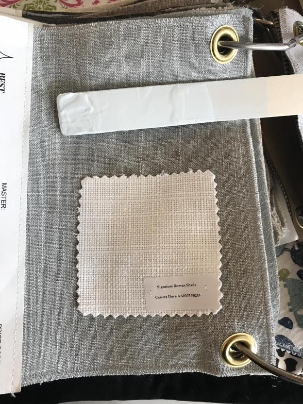 fabric swatches for grey chair and white Blinds.com roman shades