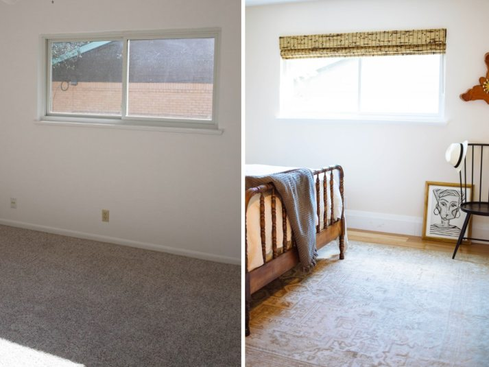 before and after of second guest bedroom with woven wood shades on wide window and antique wood bed