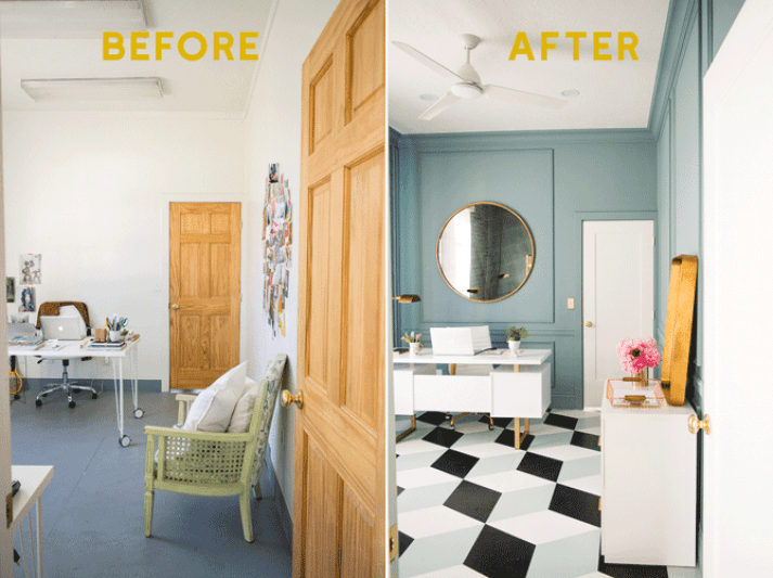 split image with before and after photos of blue, black and white office makeover