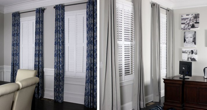 split shot of dining room and office with plantation shutters and draperies in different colors