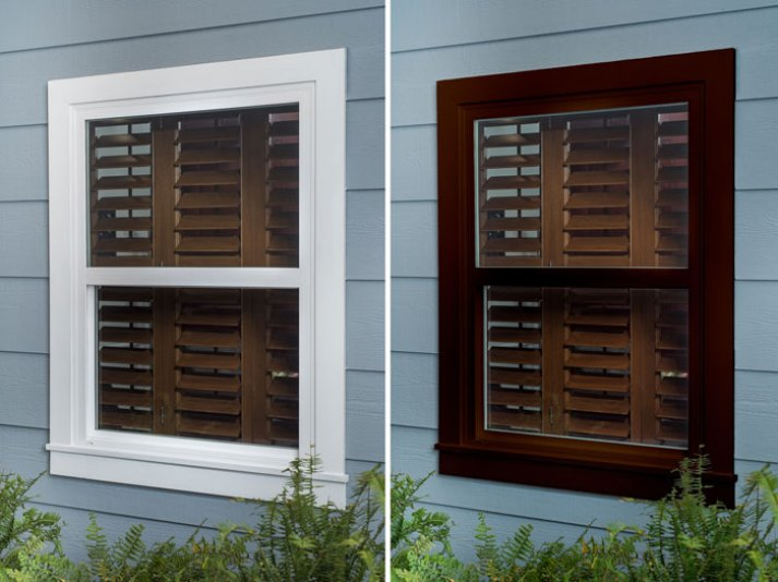 split image of home exterior with white window trim over brown stained plantation shutters versus brown window trim over stained wood shutters