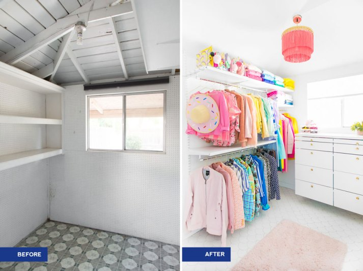 before and after master closet makeover with brightly colored clothes and white cellular shades