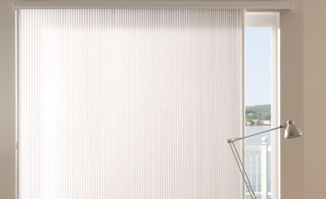 Office With White Fabric Vertical Cellular Shade For Sliding Patio Door