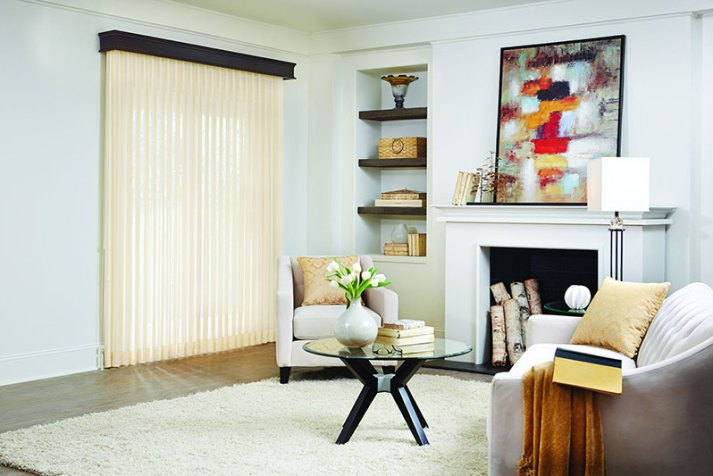 sheer vertical blinds in transitional living room with sliding glass door