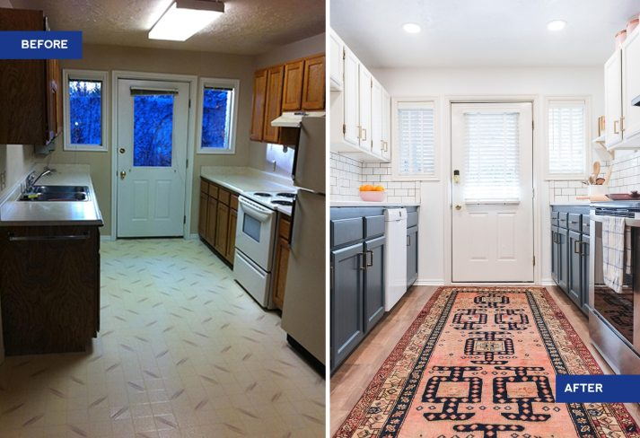 before and after shot of dated kitchen with brown cabinets and after with pink persian rug, blue and white painted cabinets and white wood blinds with cloth tapes