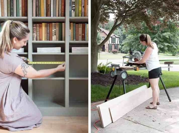 Making Nice in the Midwest blogger in side by side photo measuring bookcases and cutting wood with miter saw