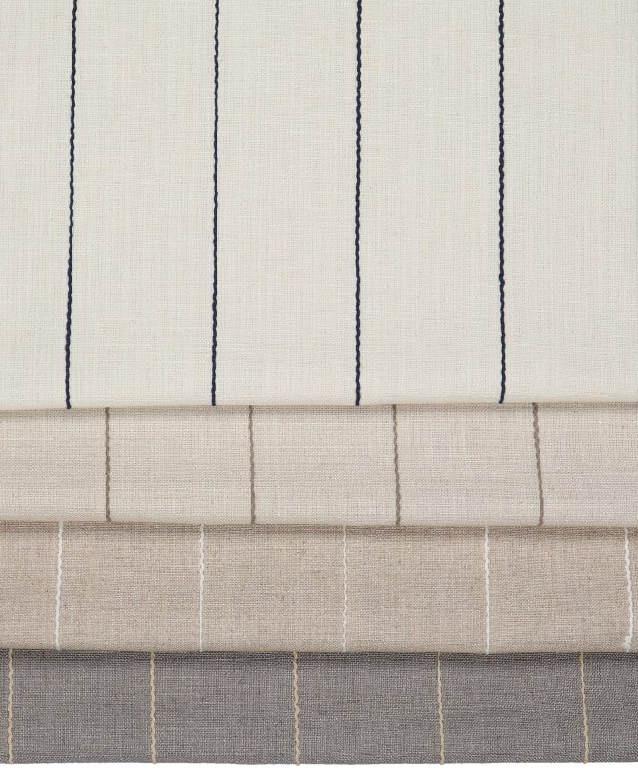 linen fabrics for roman shades with thin embroidered stripes