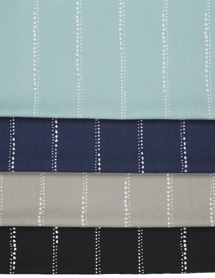 Blinds.com roman blinds fabrics in blue, navy, beige and black with thin dotty stripes
