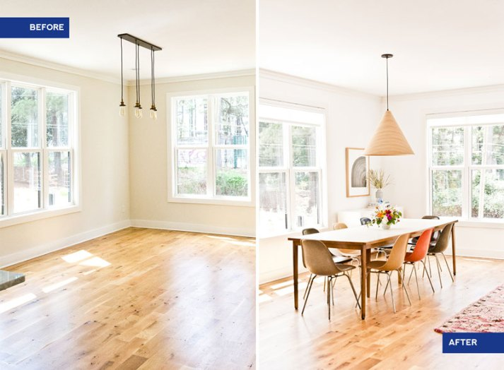 before and after of empty dining room with beige walls and revealed space with mid century dining table and chairs, blonde wood light fixture and sheer white window shades