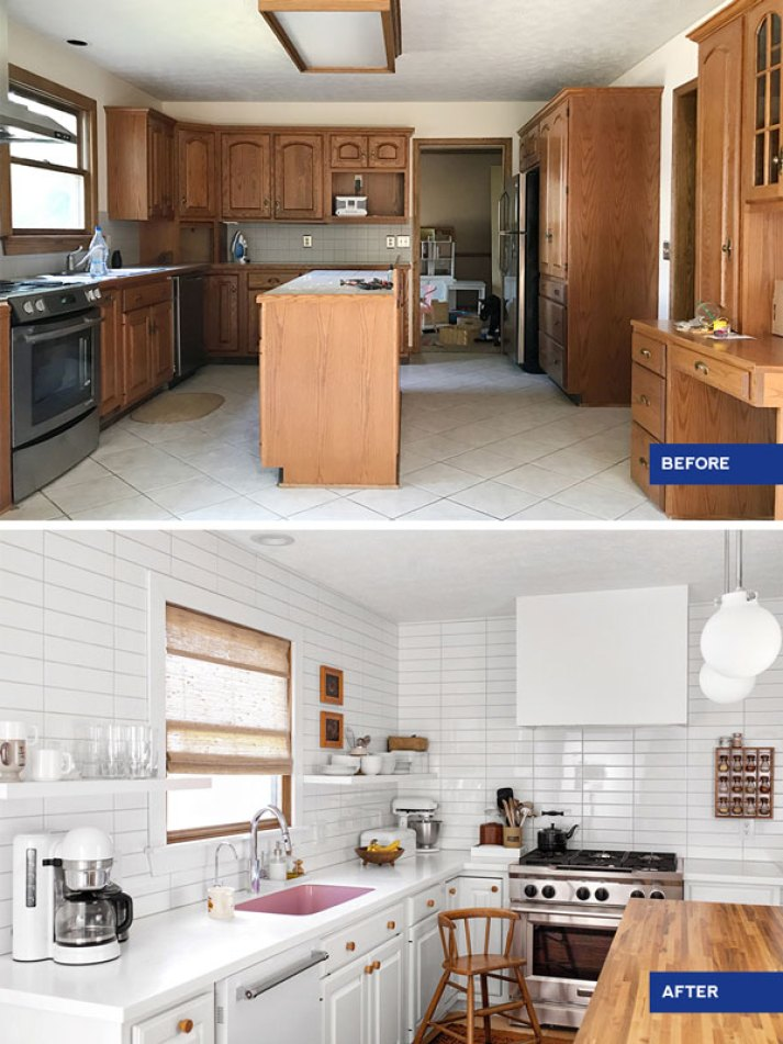 before and after photos of kitchen with dark brown cabinets and beige tile, after with white subway tile walls, white cabinets and butcher block island