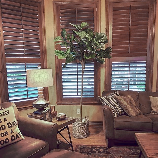 traditional living room with leather furniture, wood shutters on windows and eclectic accessories.