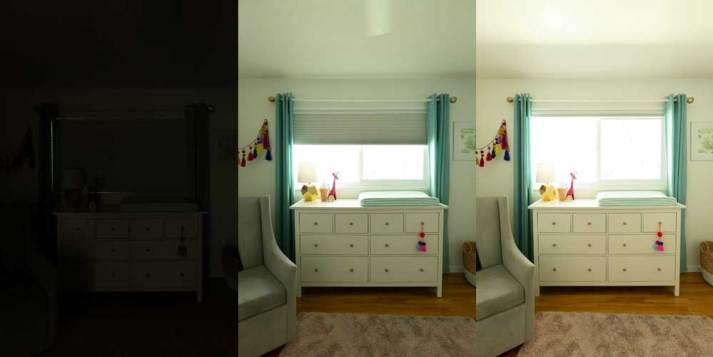 Side by side images demonstrating blackout window shades in kids bedroom