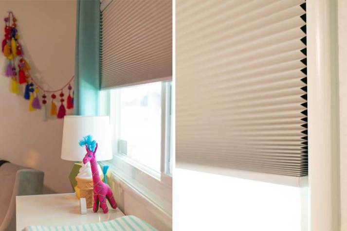 automatic window shades in colorful baby girl nursery
