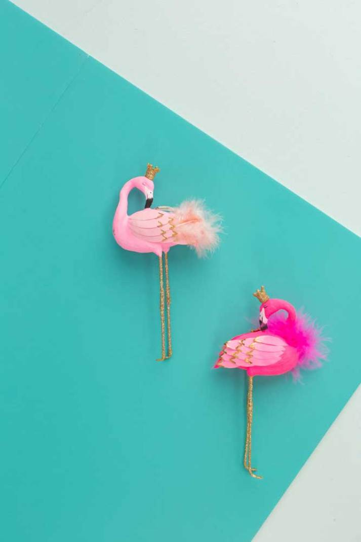 whimsical flamingo christmas ornaments from oh joy