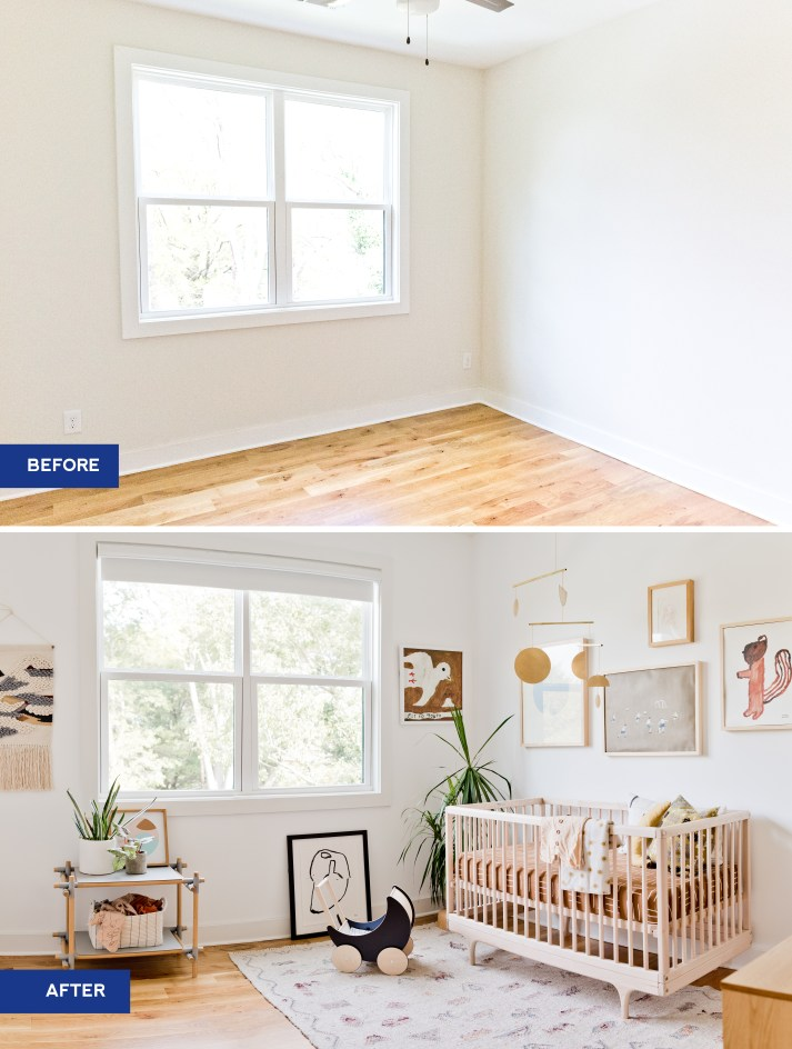 Before and after of an empty room and finished nursery with modern wood crib, ikat shag rug, modern art and white blackout roller shades on window.