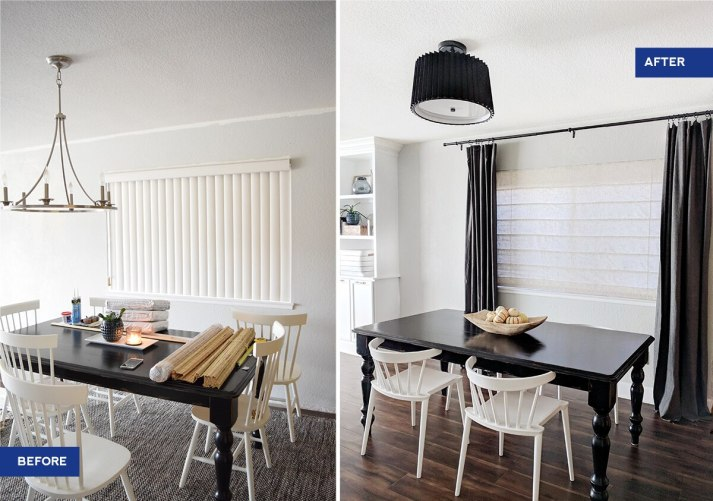 before and after graphic with vertical blinds in messy dining room and after with black table, white short windsor chairs and off white linen roman shades and dark grey curtains
