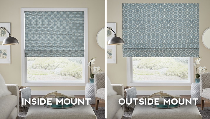 graphic showing the difference between inside mount blinds installed in the window frame and outside mount blinds installed on the wall above the window