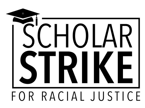 The logo for the Scholar Strike, which includes the text