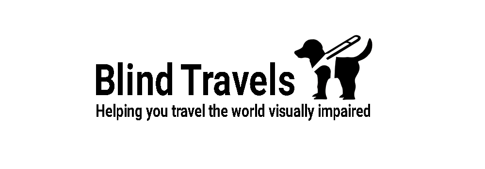 Blind travels logo, text with a silhouette of a guide dog in harness.