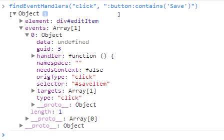 save button information from findHandlersJS