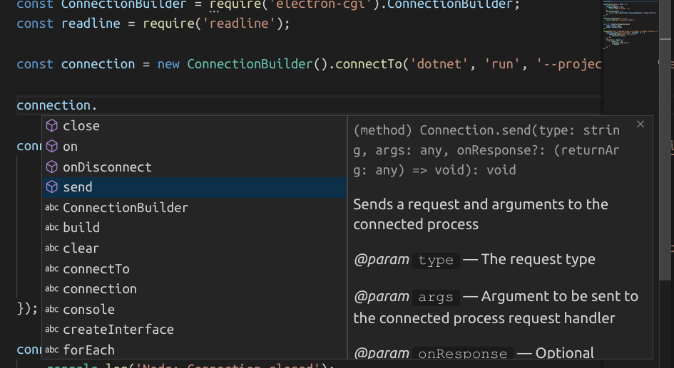 intellisense for connection in visual studio code