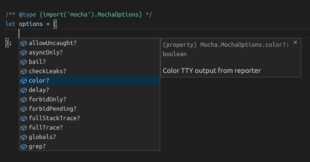 example of intellisense for mocha's options