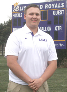Josh Hall visits Blissfield Royals stadium where he played football before becoming part of the LSU program. (Copyright River Raisin Publications, Inc. All rights reserved)