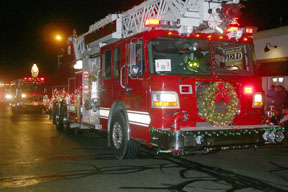 The Blissfield Township ladder truck was among emergency vehicles decked out for the Blissfield Parade of Lights. Copyright 2015, River Raisin Publications, Inc. All rights reserved.