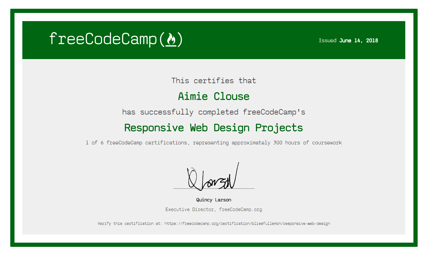 Free Code Camp Responsive Web Design Certification