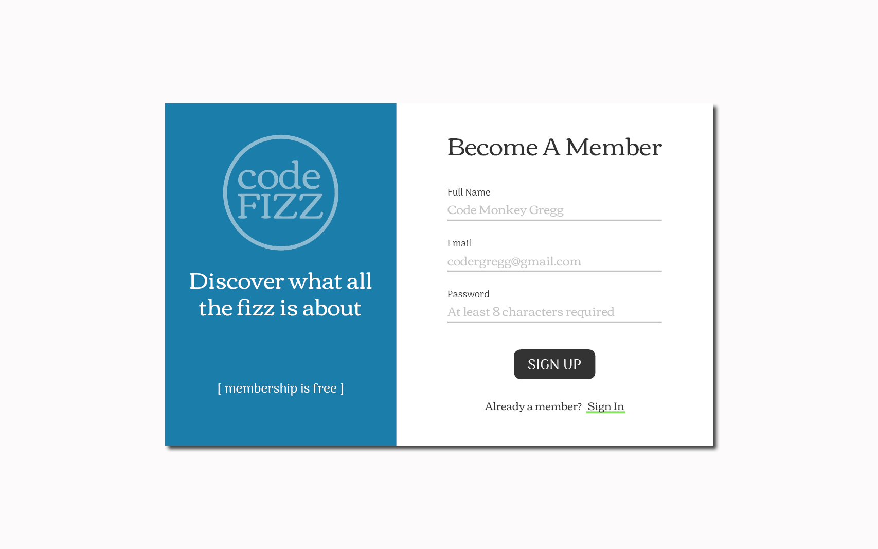 This is the UI/UX design for the sign up page of the Code Fizz web application.