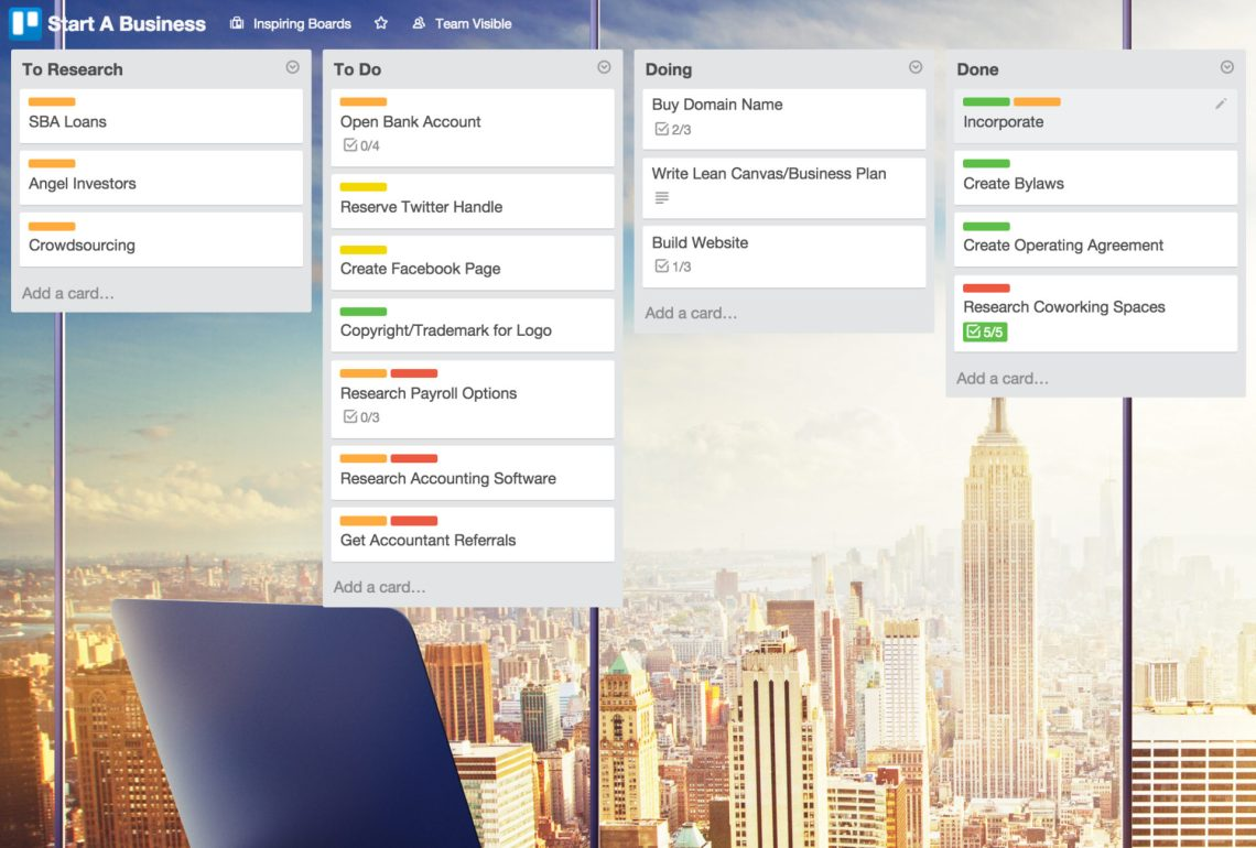 Trello is an absolute lifesaver when it comes to being able to visually display and organize your small business projects, tasks, and other information. Learn more about it and a few of my other favorite apps for organizing my small business at blissfullemon.com/5-free-apps-for-organizing-your-small-business