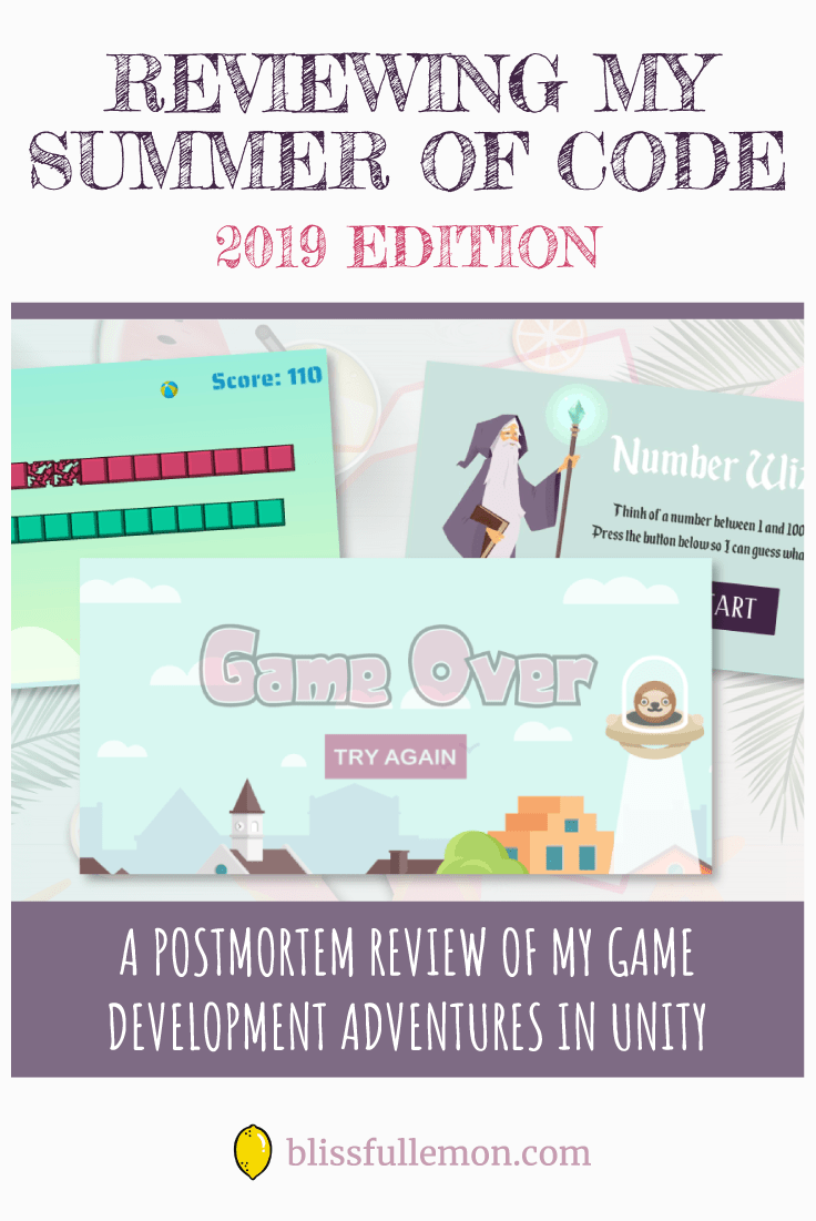 Now that Summer is almost over, it's time for a postmortem review of my Summer of Code, including what I learned, my frustrations, what I enjoyed, and what I plan to do differently next time. Read more at blissfullemon.com/reviewing-my-summer-of-code-2019.