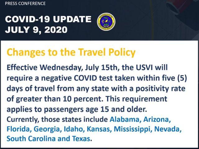 Conditions d'entrée à l'USVI Covid