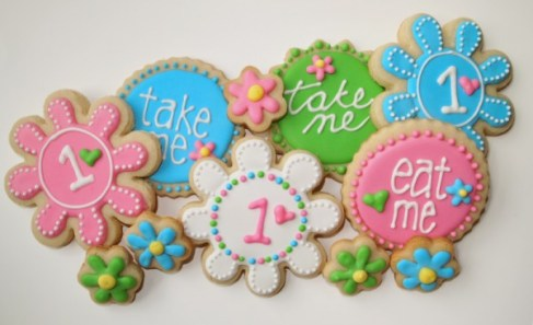 First Birthday - Girl Custom Cookies