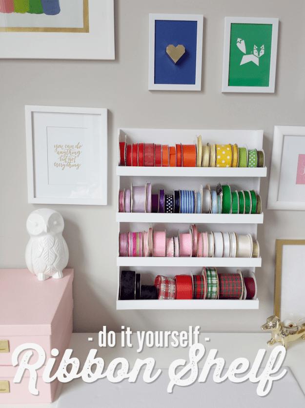DIY Ribbon Storage Shelf