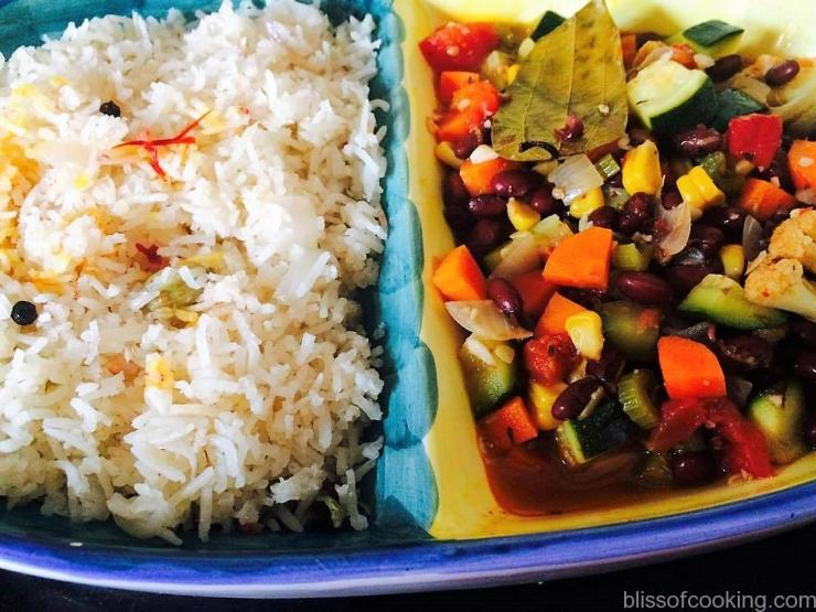 Rice Pilaf with Chilli Vegetables with Beans, Middle East Cuisine