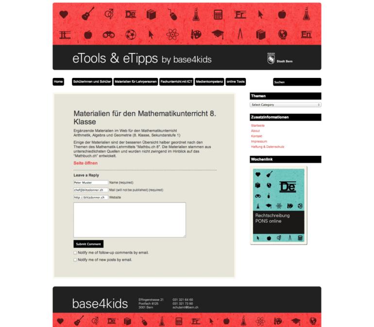 Werbeagentur Bern Blitz & Donner neue Seite für eTools