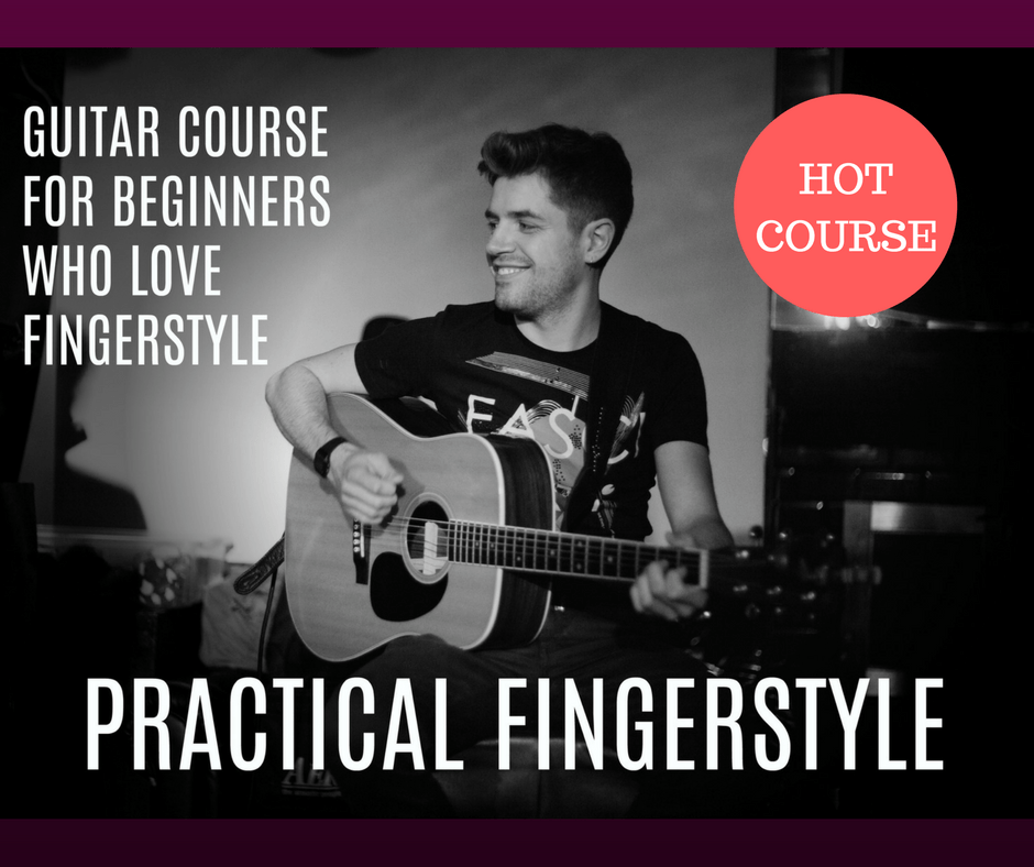 Practical Fingerstyle guitar course for beginners. Acostuc guitar lesson.