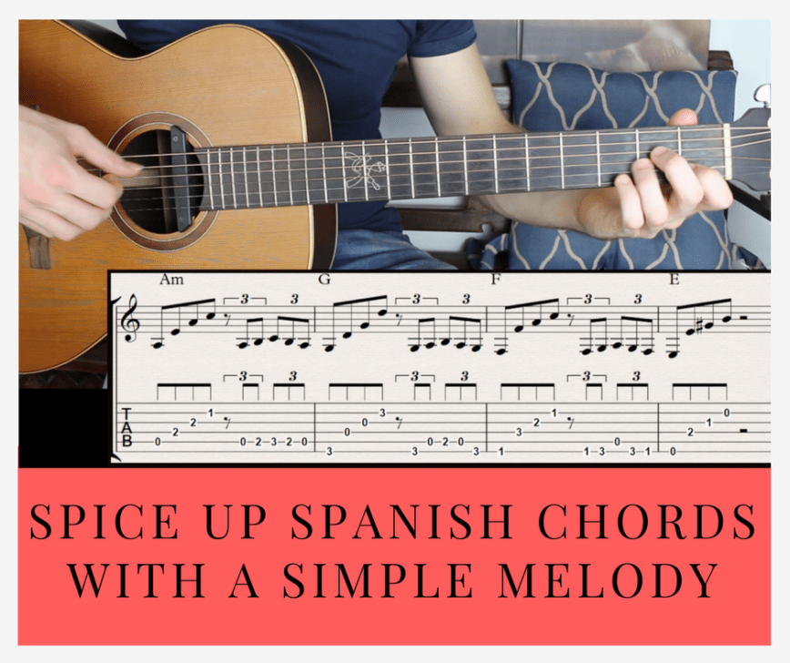 Spanish Guitar In 4 Steps Intro Chord Progression Melody And Ending