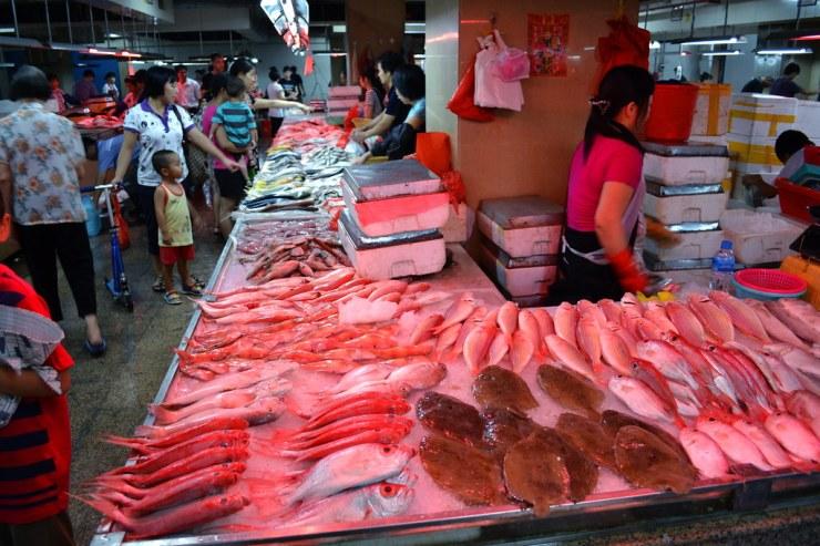 Pesce in un Wet Market