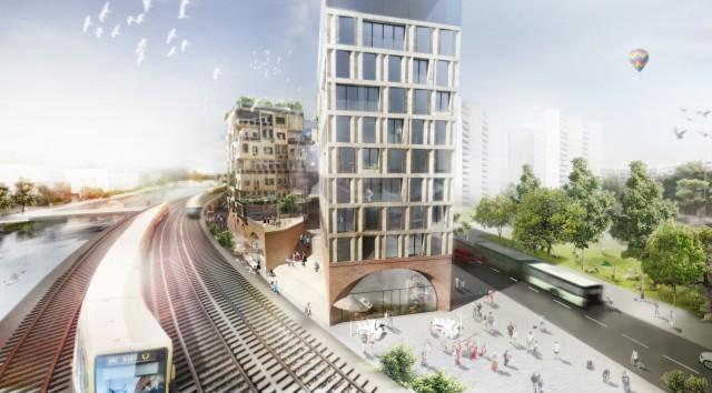 Perspektive_Gasse Eckwerk (Quelle: Holzmarkt eG Architektenbüro Kleihues + Kleihues)