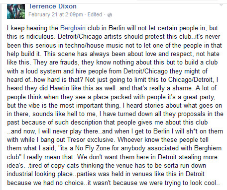 terrence dixon about berghain
