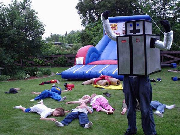 Blockman and kids