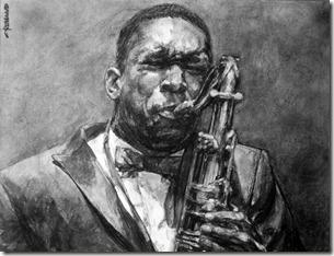 portrait jazzman fusain