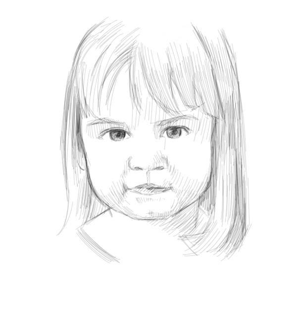 Un portrait de petite fille en contour purs